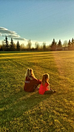 My girls at sunset, Alberta, Canada