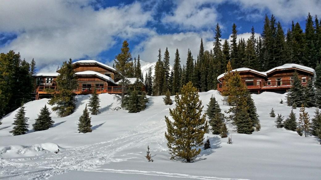 Mountain Engadine Main Lodge (left) and cabins (right), Kananaskis, Alberta