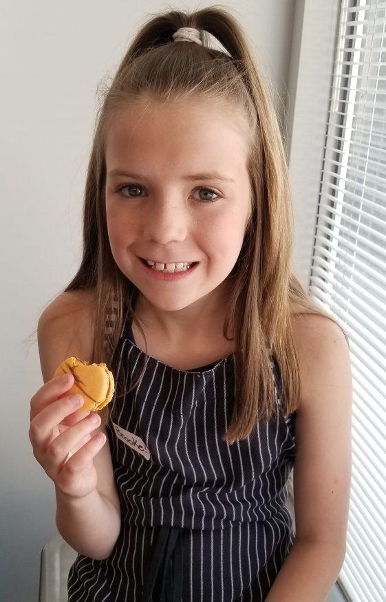 Littlest B enjoys a macaron by Ollia Macarons Tea