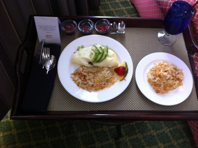 room service - working breakfast