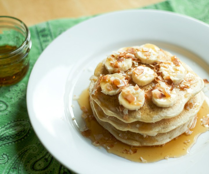 Vegan Banana Coconut Stuffed Pancakes - the banana is IN BETWEEN the pancakes, no gummy insides!