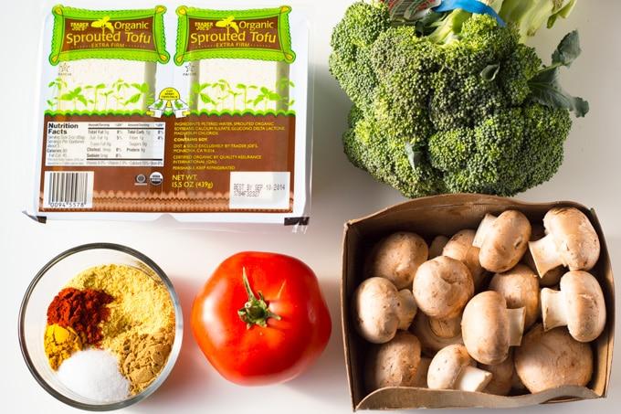 Simple Tofu Scramble with Roasted Potatoes | https://passtheplants.com | #vegan #breakfastfordinner #tofuscramble #oilfree #veggies #nondairy