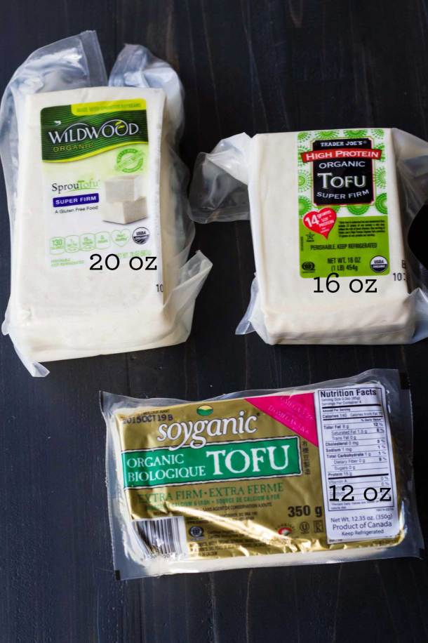 Tofu comes in nonstandard packaging - this image show three varieties ranging from 12 ounces to 16 ounces
