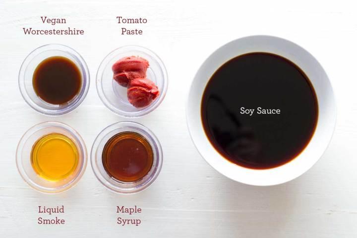 Marinade for Tofu Bacon - Soy Sauce, Vegan Worcestershire, Tomato Paste, Liquid Smoke, Maple Syrup