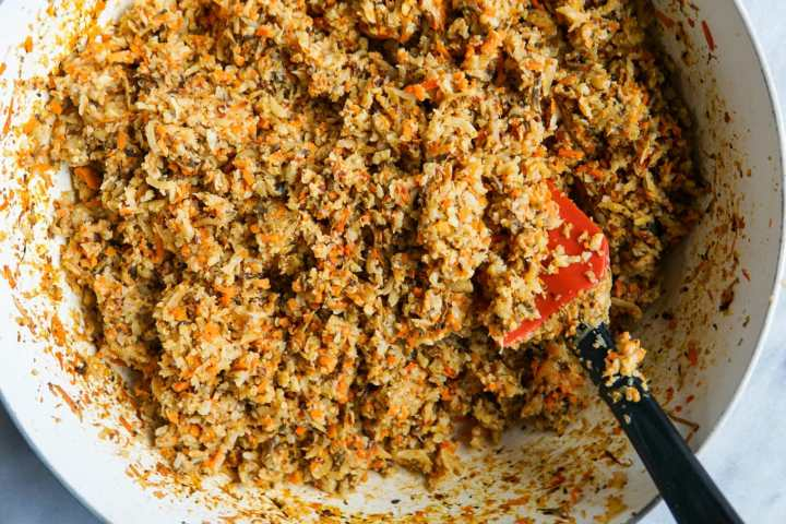 Overhead close-up of vegan ground beef cooked in pan