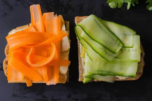 Tofusion Vegetable Sandwich - Asian flavors converge in this surprisingly delicious sandwich! Make lunch more adventurous! Vegan, Oil-free   https://passtheplants.com