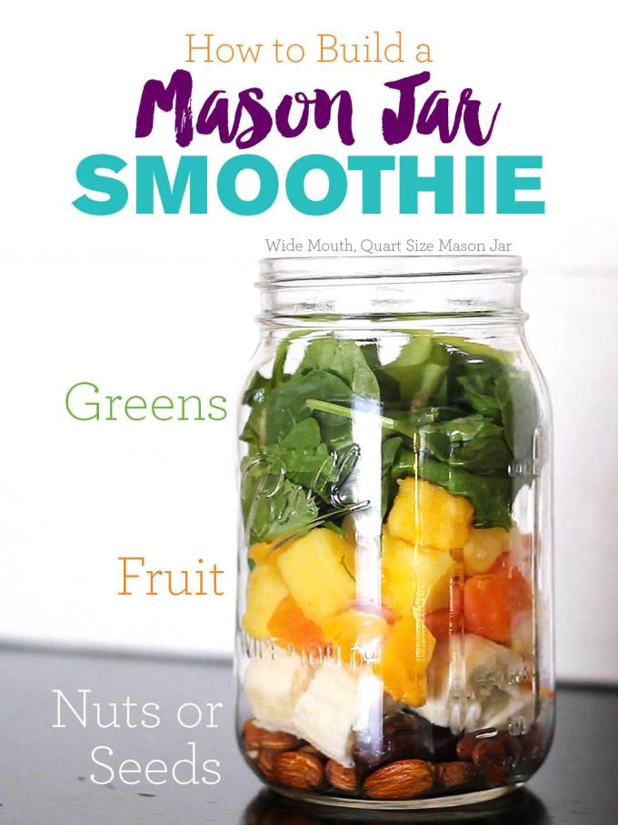 How to Build a Mason Jar Smoothie | Ingredients layered in a quart sized wide mouth mason jar - nuts or seeds on the bottom, frozen fruit in the middle, fresh greens packed on top | https://passtheplants.com/