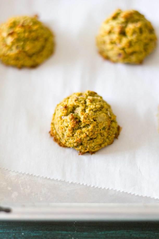 Oven-Baked Falafel on baking sheet after baking   Plant-based   Oil-free   Vegan   Gluten-free   https://passtheplants.com/