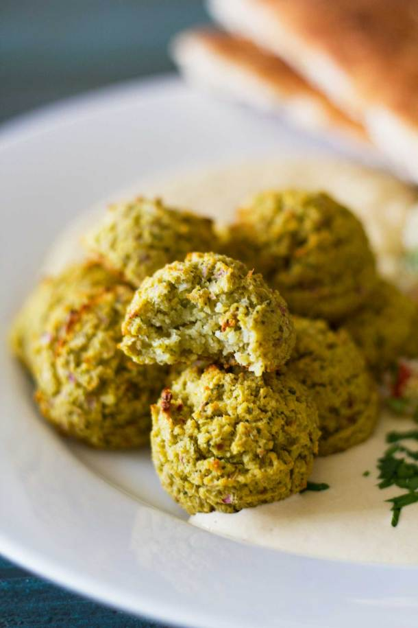 Oven-Baked Falafel close-up with a bite taken out   Plant-based   Oil-free   Vegan   Gluten-free   https://passtheplants.com/