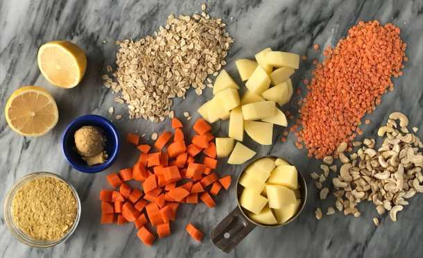 Protein-Packed Vegan Cheese Sauce | Vegan cheese sauce ingredients laid out | Whole foods plant based | Oil-free | #plantbased #vegan #oilfree #wfbp | https://passtheplants.com/
