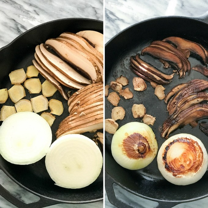 Spaghetti Squash Vegan Pho - Onion, ginger, mushroom, roasted in a cast iron skillet | https://passtheplants.com/