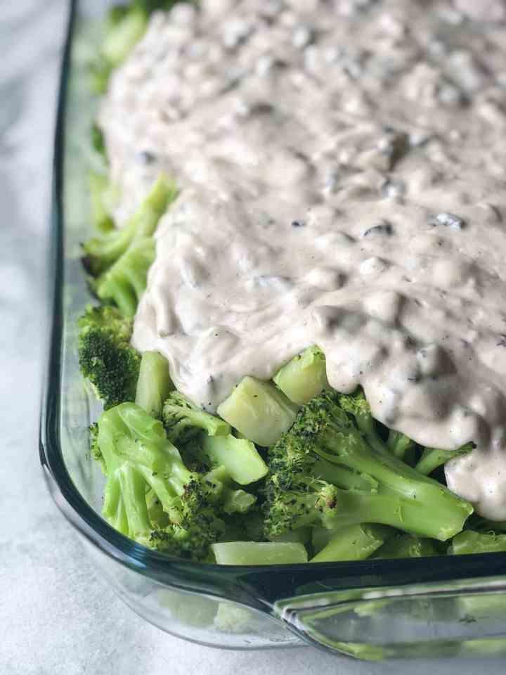 Vegan cream of mushroom soup over broccoli | Vegan Broccoli Casserole | #vegan #plantbased #recipe #broccoli #casserole #wfpb #oil-free