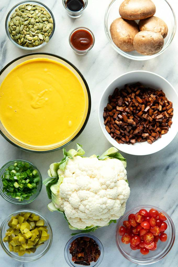 Overhead image of vegan cheeseburger soup ingredients.