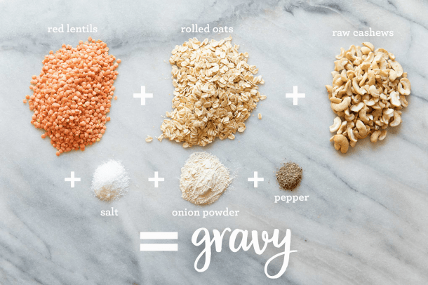 ingredients for protein-packed vegan white gravy - red lentils, rolled oats, raw cashews, onion power, salt, pepper