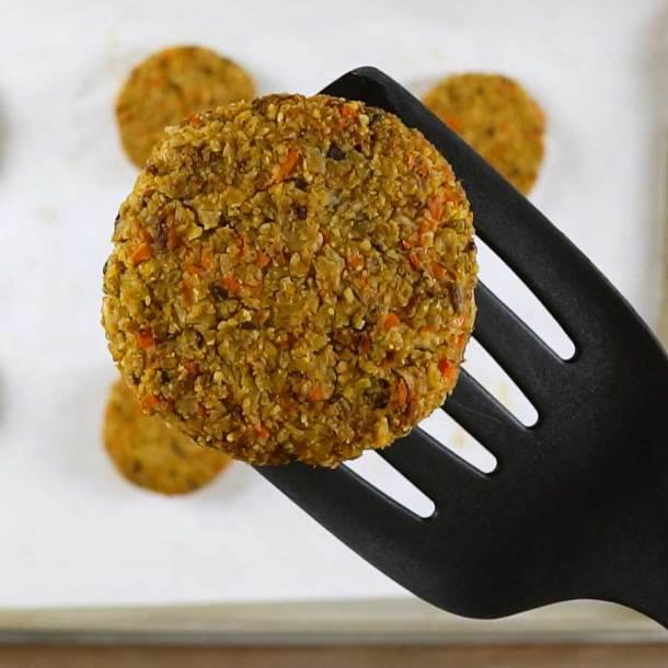Close-up of vegan veggie burger after baking.
