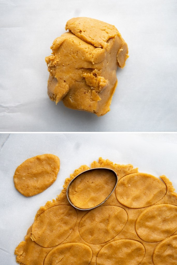 filling for vegan peanut butter eggs shaped into eggs