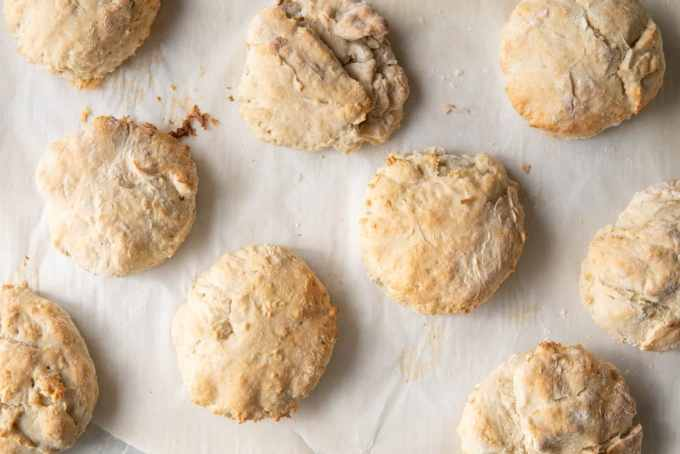 oil-free vegan biscuits on a baking sheet after baking