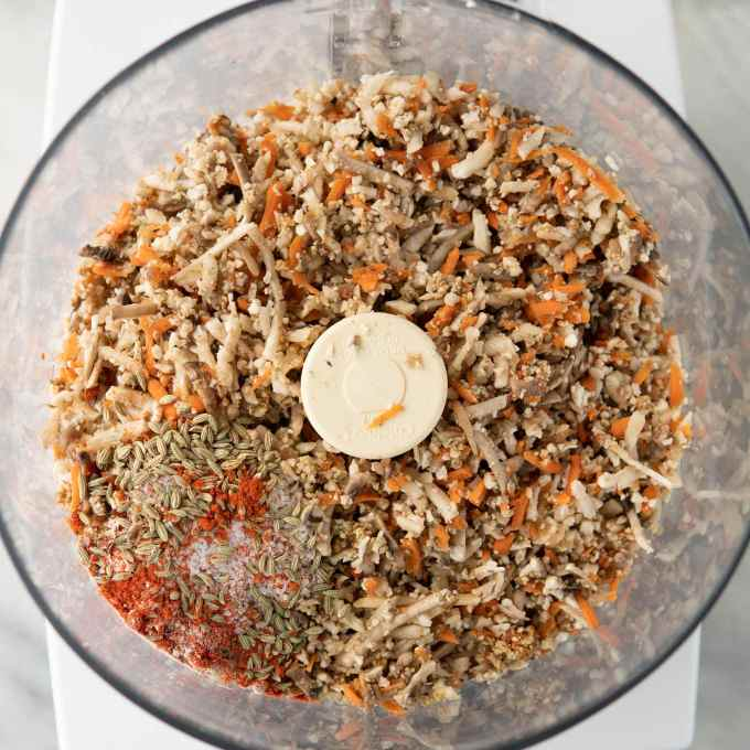 vegan ground meat and sausage spices in a food processor