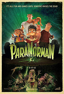 """ParaNorman"": A animated 3-D stop motion film about a boy who can see the dead. (2012) Read the review here: https://passthepopcornreviews.wordpress.com/2012/08/29/paranorman-provides-horror-comedy-and-brains/"