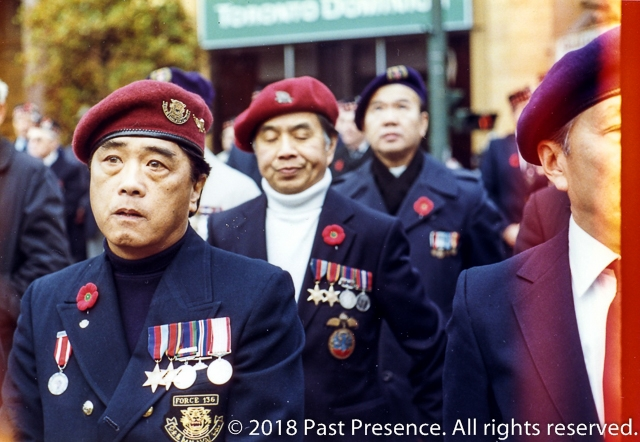 1986-11-11 - Force 136 Veterans at Remembrance Day at Victory Square Cenotaph Vancouver BC - P02775