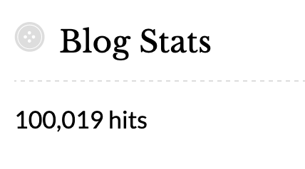 Snip of blog stat showing 100,019 hits
