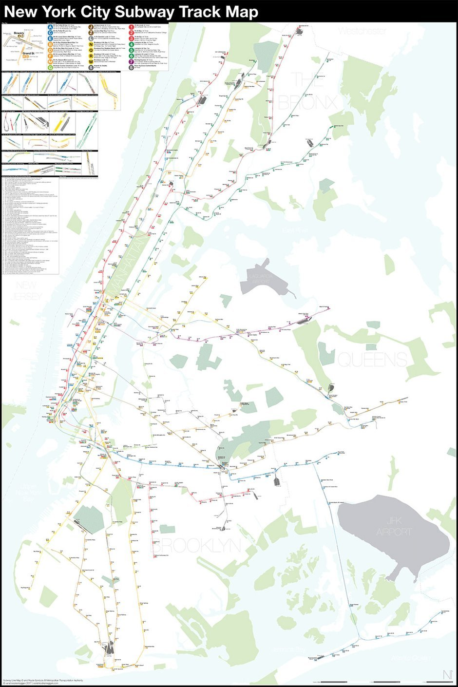 Geographically accurate NYC Subway map