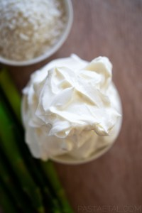close up of mascarpone cheese and asparagus