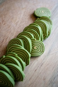 sliced rolled spiral pasta with spinach