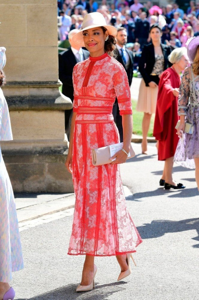 Gina Torres al Royal wedding di Harry e Meghan, foto Ian West/Reuters