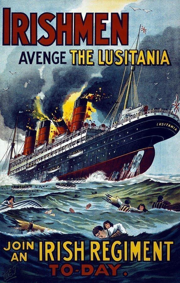 Manifesto di una campagna di arruolamento degli USA nella prima guerra mondiale che riprende l'affondamento tedesco del Lusitania