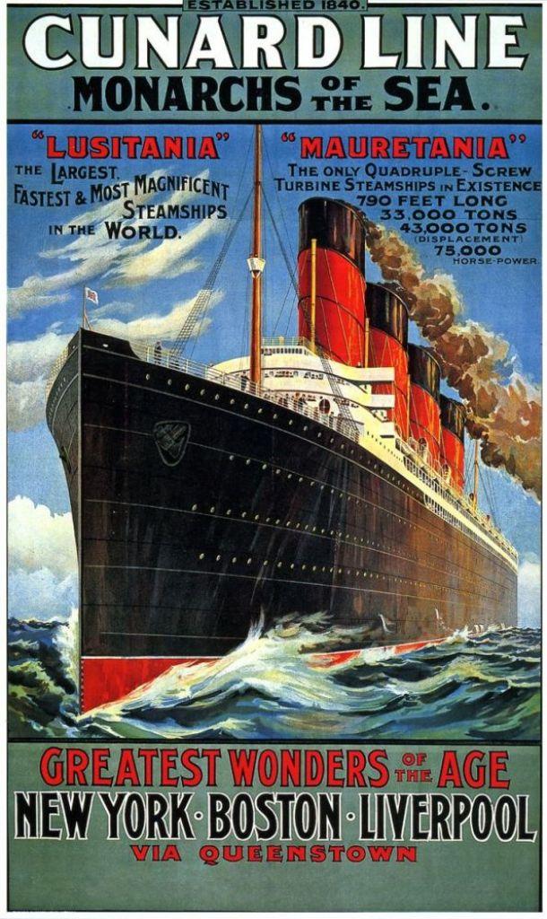 Pubblicità delle navi Lusitania e Mauretania della Cunard Line