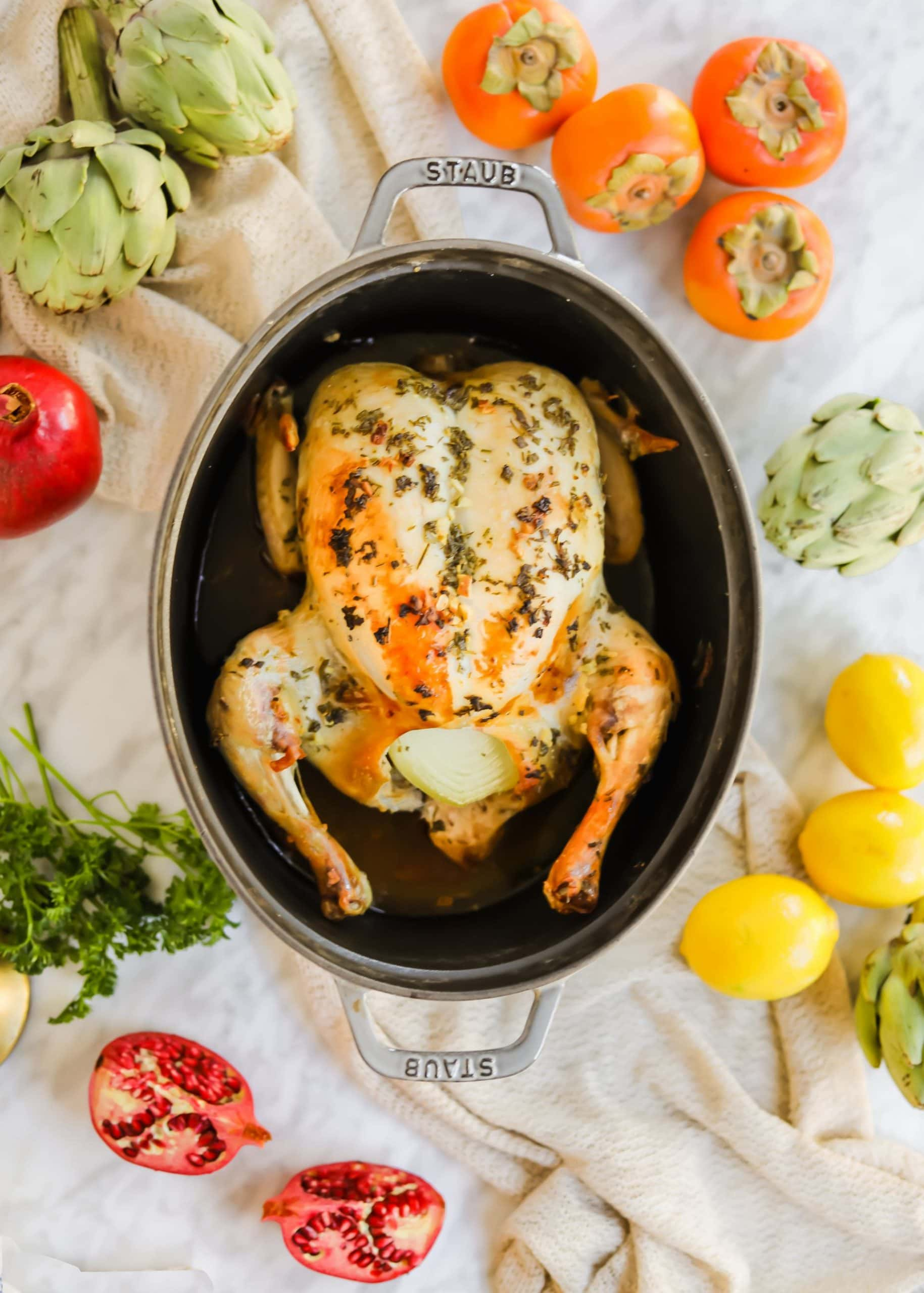 Meyer Lemon Roasted Chicken herbs garlic