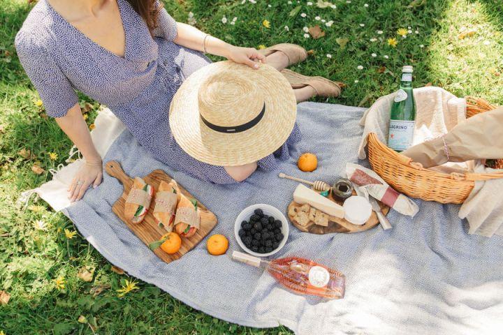 picnic spread with a caprese sandwich cheesboard