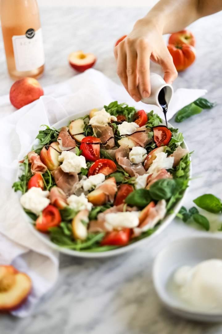 Italian summer salad with balsamic glaze