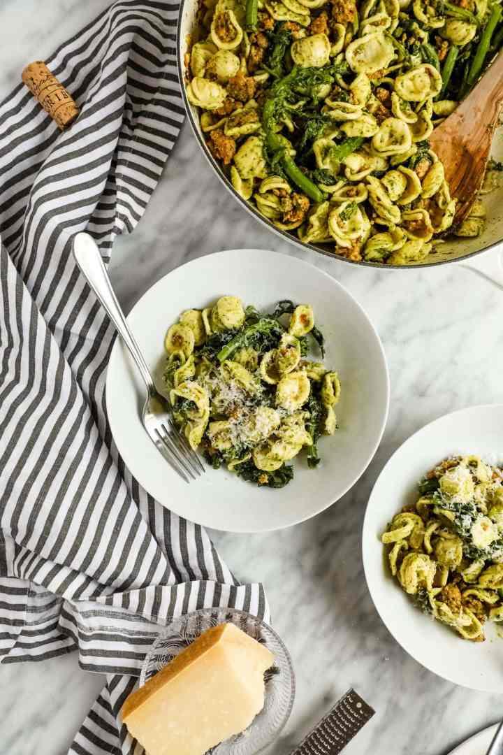 Bowl of Pesto Orecchiette with Rapini and Healthy Chicken Sausage
