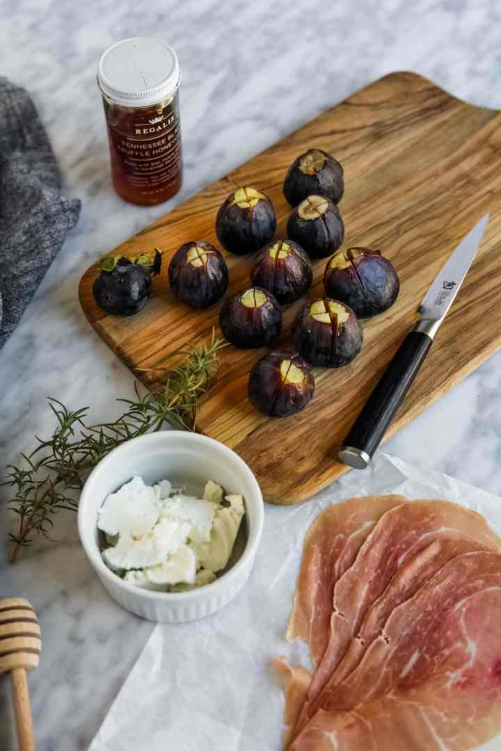 Prosciutto-Wrapped Figs with Goat Cheese quartered figs