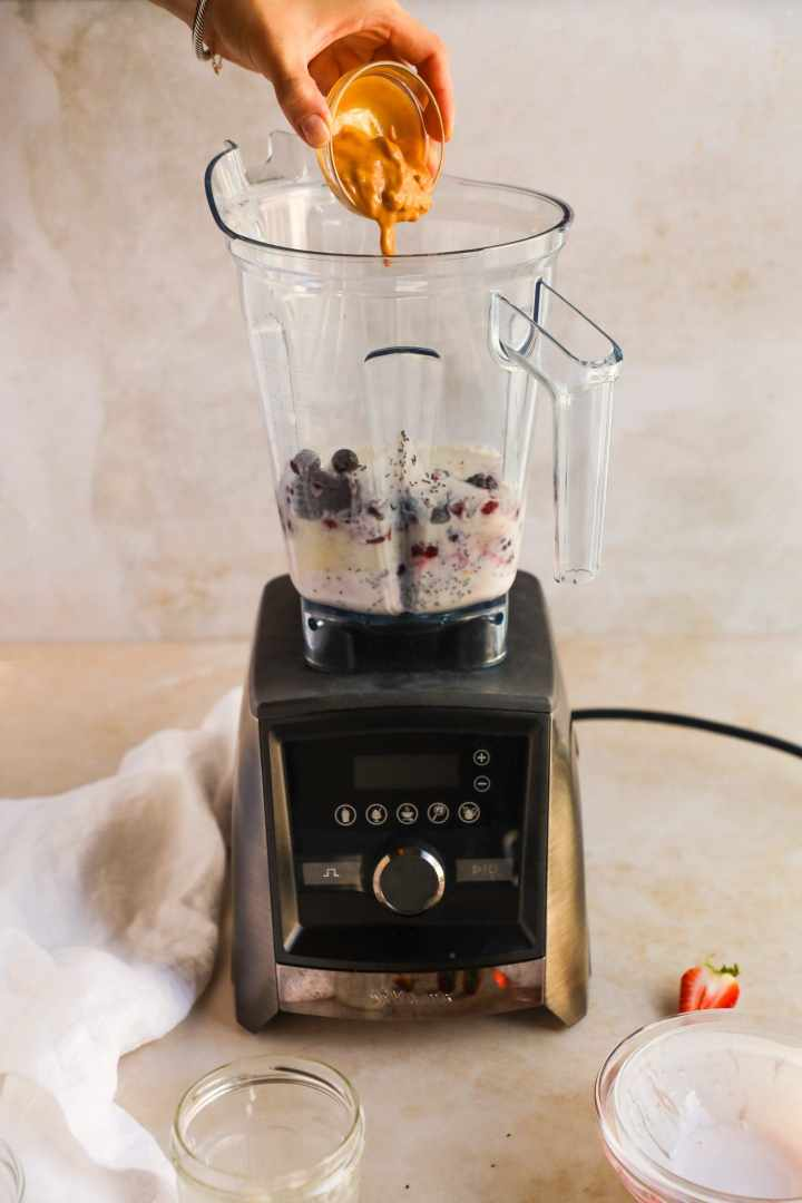 Peanut Butter and Berry Smoothie in Vitamix Blender