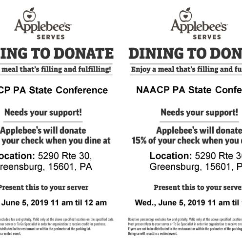 Dining to Donate Flyer Template greensburg