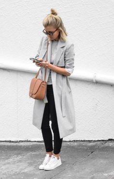 Pastels and stripes_ grey trench