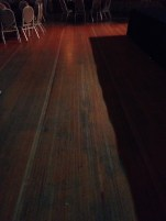 This floor board at the Fountain Square Theater Building was originally used for a bowling alley. Now it's part of a dance floor.