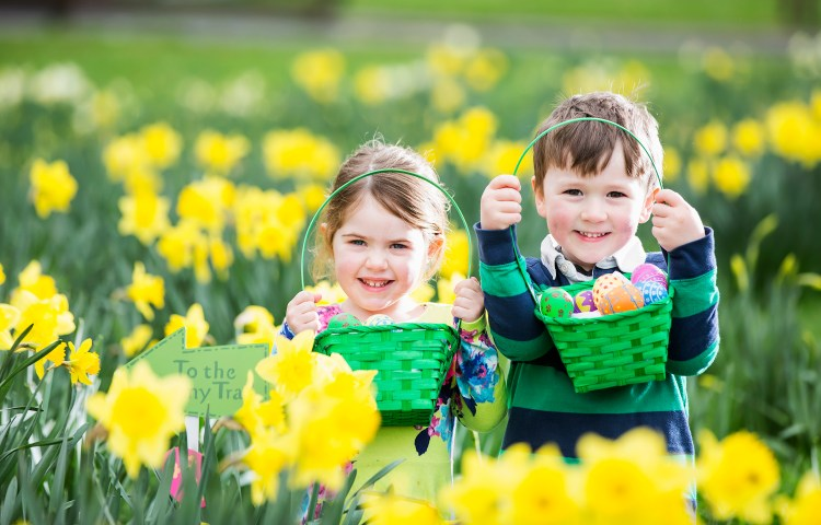 Easter egg hunting - Loretta O'Donnell (3) and Finlay Smyth (4)