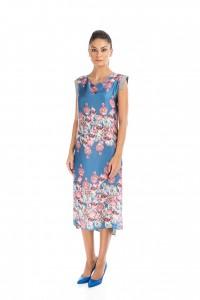 rochie asimetrica cu imprimeu d96
