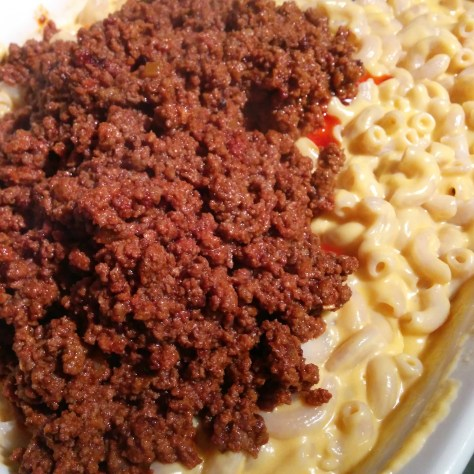Macaroni and Cheese with Meat filling