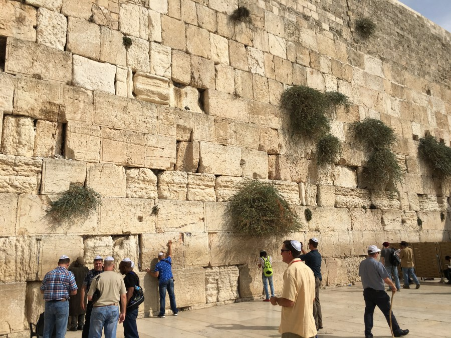 People praying at the Western Wall.