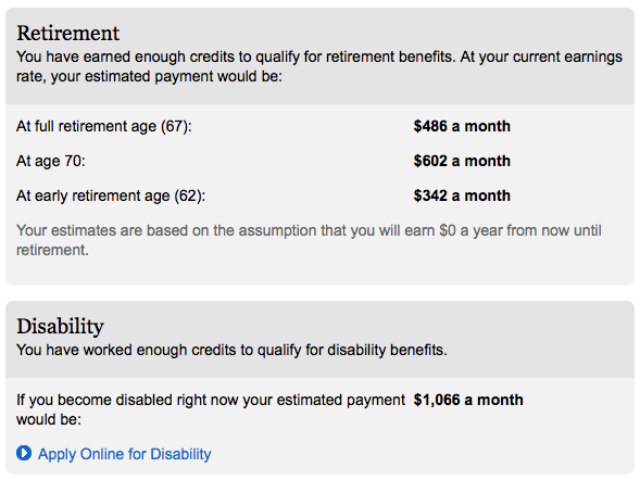 example social security estimated benefits
