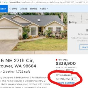 Picture of online house listing with estimated mortgage payment