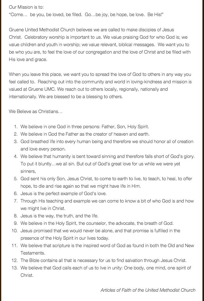 Gruene UMC Statement of Beliefs