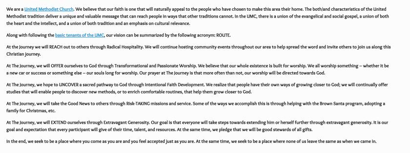 The Journey UMC Statement of Beliefs