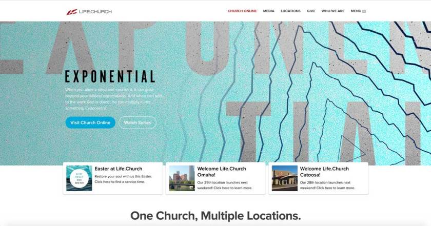 Life.Church has a call to action that invites visitors to check out church online or a recorded sermon