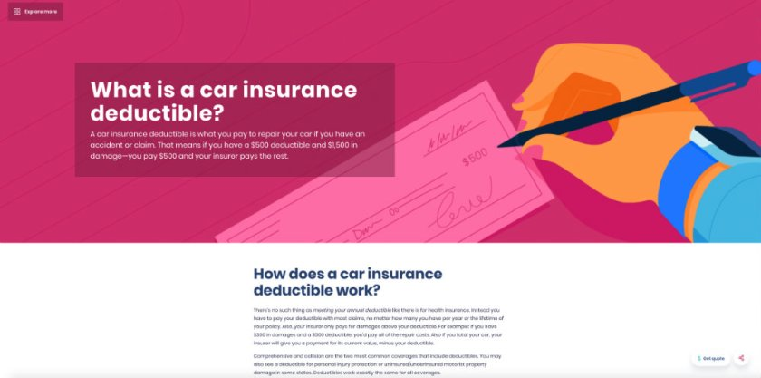 Progressive insurance provides in-depth articles to help customers even if they aren't Progressive customers. This help SEO